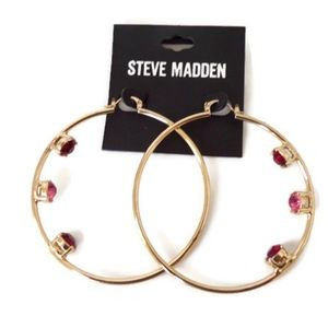 Steve Madden Hoops Earrings 2 Pair Set WA1232